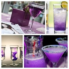 purple drinks for the wedding... just add food coloring.
