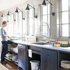 decor, lights, interior, window, industrial kitchens, kitchen lighting, sconc, galley kitchen, cabinet