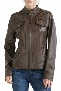This Cruzer Women's Patch Pocket Lambskin Motorcycle Leather Jacket looks real classy in this Espresso color.  Beautiful soft lambskin leather accented with trendy pockets that have a flap and zipper closure. http://www.luxurylane.com/411-129839-esp.html