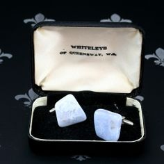 WHITELEY'S Vintage Gents Lady Cufflinks Tiffany Blue Natural Stones Original Box