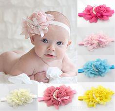 Beb moda bandas para la cabeza/2013 nuevo spot de la perla rosa de la cinta del pelo flores en lactantes y nios accesoriosparaelcabello tire+free de envo
