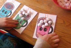 toddler math, marshmallow, hot chocolate, letter, preschool math, count mat, number, preschool crafts, kid
