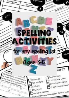50 Spelling activities for any spelling list. Also has activities for spelling homework. Perfect for literacy centers.