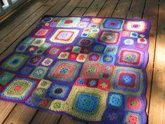 bright crochet rug inspired by the Babette Blanket pattern.
