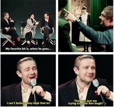 (gif) OH MY GOSH NOW I LOVE IT EVEN MORE! Martin Freeman on the guessing game scene. :)