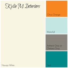 cream paint palette with orange, blue and gray, Benjamin Moore.