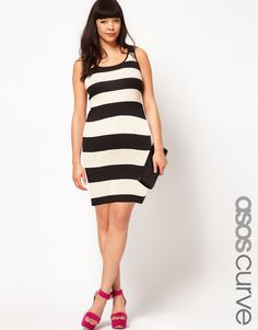 Midi Body-Conscious Dress In Wide Stripe / ASOS CURVE