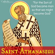 """St. Athanasius was a 4th century bishop, Church Father, Doctor of the Church. He spent his life defending the Divinity of Christ against the dangerous Arian heresy which denied it. His refusal to tolerate this error brought him persecution & exile. Known as the """"champion of orthodoxy,"""" his efforts eventually succeeded in the formation of the Nicene Creed which states that Jesus Christ is """"God from God, Light from Light, True God from True God, begotten not made, consubstantial with the Father."""""""