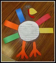Thanksgiving Freebie craft/writing Printable Turkey activity, very cute!