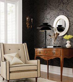 black damask on beige and wood