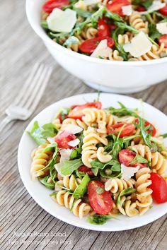 Arugula Pasta Salad Recipe on twopeasandtheirpod.com Love this easy and healthy whole wheat pasta salad!