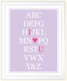 Alphabet Art I Love You -- need one for each girls' room, purple  pink! So cute!