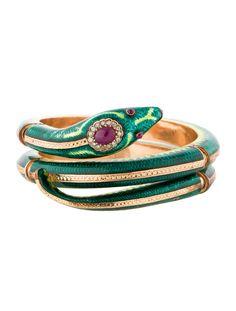 Ruby and Diamond Snake Bracelet