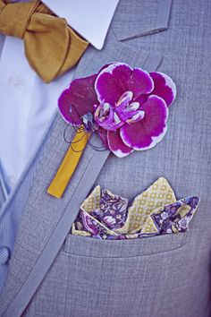 Style Snapshot: Botanical Square - This #groom balances purple florals with mustard yellow. #wedding #boutonniere #pocket_square #bow_tie