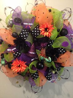 Large Mesh Halloween Wreath by WreathsMumsandMore on Etsy, $75.00