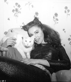 Vintage Miss Julie Newmar and kittycat