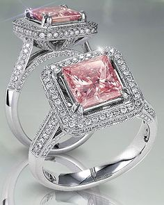 Pink diamond princess cut