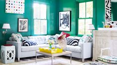 A very green living room...