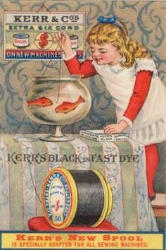Trade Card Kerr's Thread Sewing Fishbowl Girl