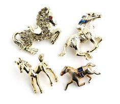 Vintage Horse Brooch Lot - 4 Gold Tone Rhinestone Enamel Costume Jewelry / Equestrian Collection by Maejean Vintage, $18.00
