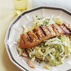 Soy-Ginger Grilled Salmon and Napa Sesame Slaw -- You can use tuna steaks, too!