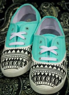 Turquoise and Aztec print.