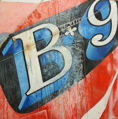 B9 boat registration, oil on board by Rich Johnson