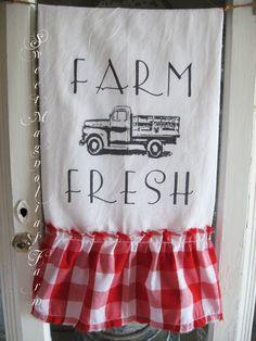 Sweet Magnolias Farm ~ Farm Fresh Flour Sack Towel ~ Vintage Truck with Red Gingham Ruffle