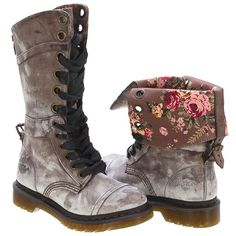 Brown Triumph 1914 by Doc Marten - love the distressed look, and that they can fold down to reveal that beautiful floral lining!