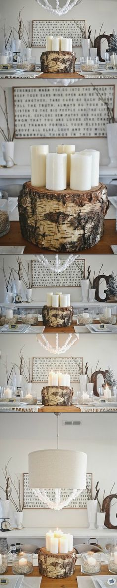 DIY Tree Stump Centerpiece-Candle Holder