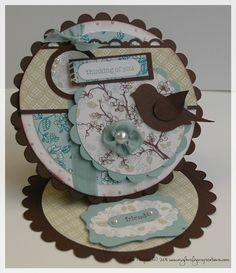 round easel, easel cards, bird circl, scallop, pretti bird, bird easel