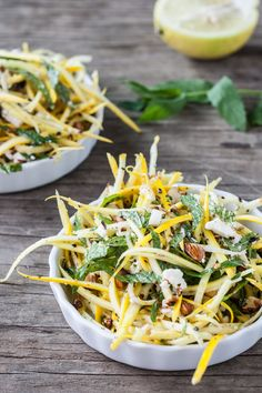 Summer Squash Slaw with Toasted Almonds & Feta - Dishing Up the Dirt