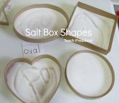 Drawing in Salt Box Shapes by Teach Preschool