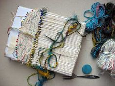 Ruth's weaving projects - one piece items using a cardboard loom and pins. craft, cardboard loom, art, weaving projects, ruth weav, diy, woven bag, bags, weav project