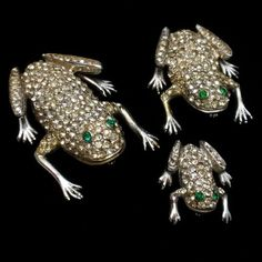 Frog Family 3 Rhinestone Pins Vintage Figural Brooches Signed | eBay