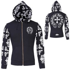 Chrome Hearts Men Designer Sporty Zip Hoodie | Sneak Outfitters