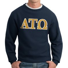 The Alpha Tau Omega crew neck sweatshirt is the strong foundation for your fraternity wardrobe. Before sweatshirts evolved into hoodies it's easy to imagine the Alpha Tau Omega founders wearing a ATO sweatshirt such as this.  To pass their high standards you know the Alpha Tau Omega twill Greek letters on this fraternity sweatshirt are sewn on with care and precision.  Cotton/poly blend
