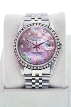 Rolex Datejust 16220 Gents Stainless Steel Watch with Tahitian Mother of Pearl Diamond Dial and Diamond Bezel