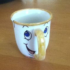DIY color me mine. M white mug and baked it for 30 minutes @ 350. Became this masterpiece! Chip from beauty and the beast.