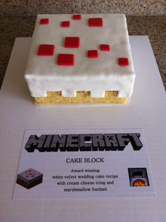 """Minecraft Cake Block """"- probably the easiest, and it looks like what the cake looks like in the game!"""" I have no clue about this whatsoever but my brother plays the game and it is afterall his birthday once a year... might come in handy"""