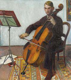 'Der Cellospieler' by Cuno Amiet, 1928. Oil on canvas.