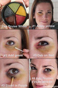Easy Home Recipes: Fake Burns & Bruises for Halloween - Radmegan fake burn, makeup bruises, bruise makeup, burn makeup, easy cosplay costumes, fake bruises