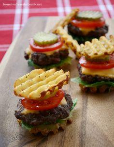 Mini Waffle Burger Appetizers mini food appetizers, fri burger, mini burger, waffl burger, parti idea, waffl fri, mini waffles