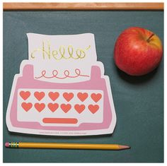 "This typewriter card as a way to say ""hello"" & make a good first impression with teachers."