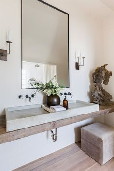 Rustic Modern Bathroom by Kaemingk Design. Circa Lighting right angle sconce #BathroomDesigns