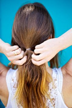 5 'dos that stay out all summer long    http://www.refinery29.com/workout-hairstyles#slide8    Section out the front sides of the hair from the ear forward, and secure the remaining hair in the back into a low ponytail.