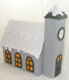 How to make Felt Christmas Church - Tissue Box - DIY Craft Project with instructions from Craftbits.com