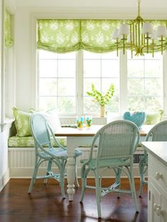 so welcoming chair, breakfast nooks, color, blue green, window treatments, roman shades, kitchen, window seats, curtain