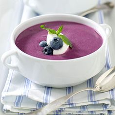 Chilled Blueberry Soup .