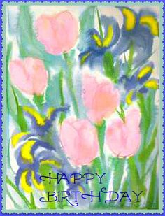 Happy Birthday Card Copy of Original Watercolor by MYSAVIOR, $2.75